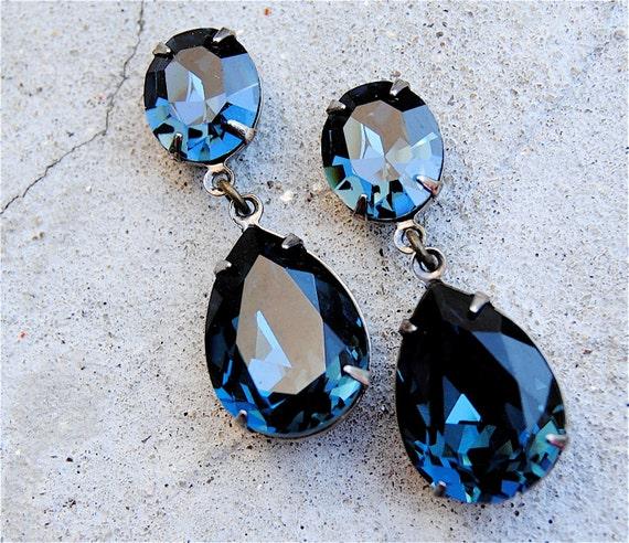 Vintage Navy Blue Earrings Swarovski Crystal Earrings Tear   Etsy