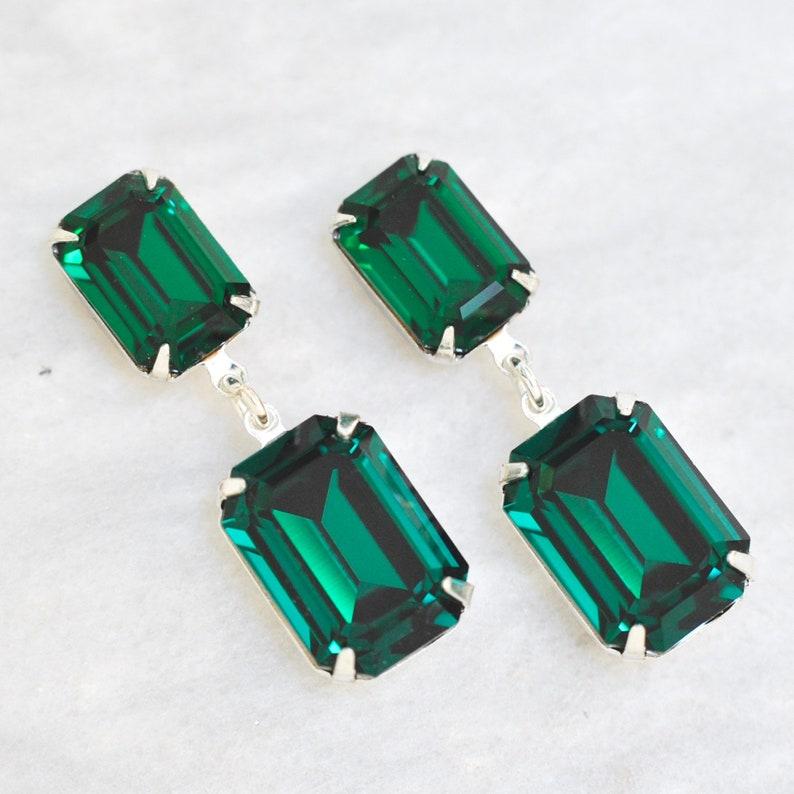 75f8430ab Emerald Earrings Swarovski Crystal Green Vintage Rhinestone   Etsy