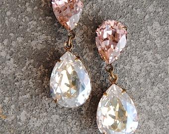 Blush Moonlight Bridesmaids Earrings,Crystal Dangle Earrings, Bridesmaid,Bride,Wedding Jewelry, Hourglass, Swarovski Crystal, Clip On Stud