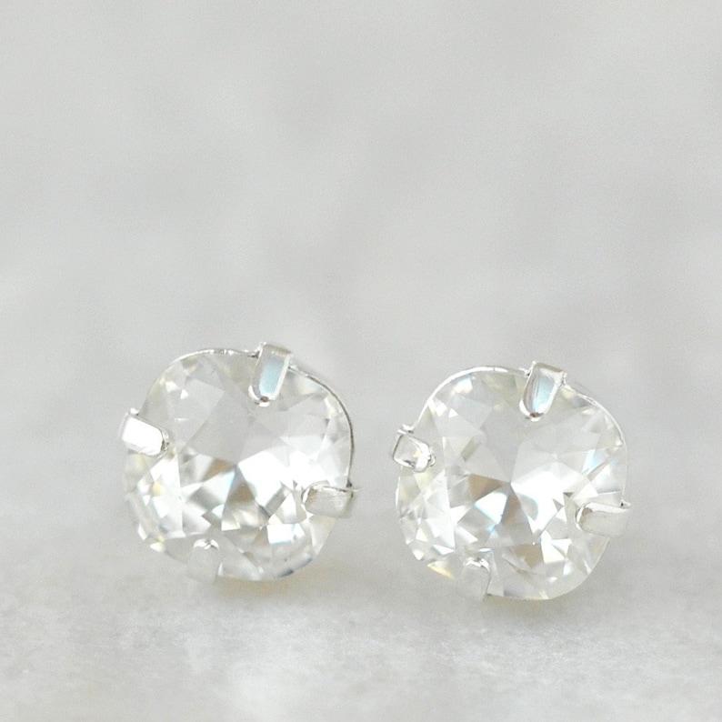 7816073382df6 Petite Diamond Stud Earrings 8mm Diamond Studs Swarovski Crystal Clear  Crystal Diamond Post Earrings Bridal Earrings Everyday Diamonds Gift