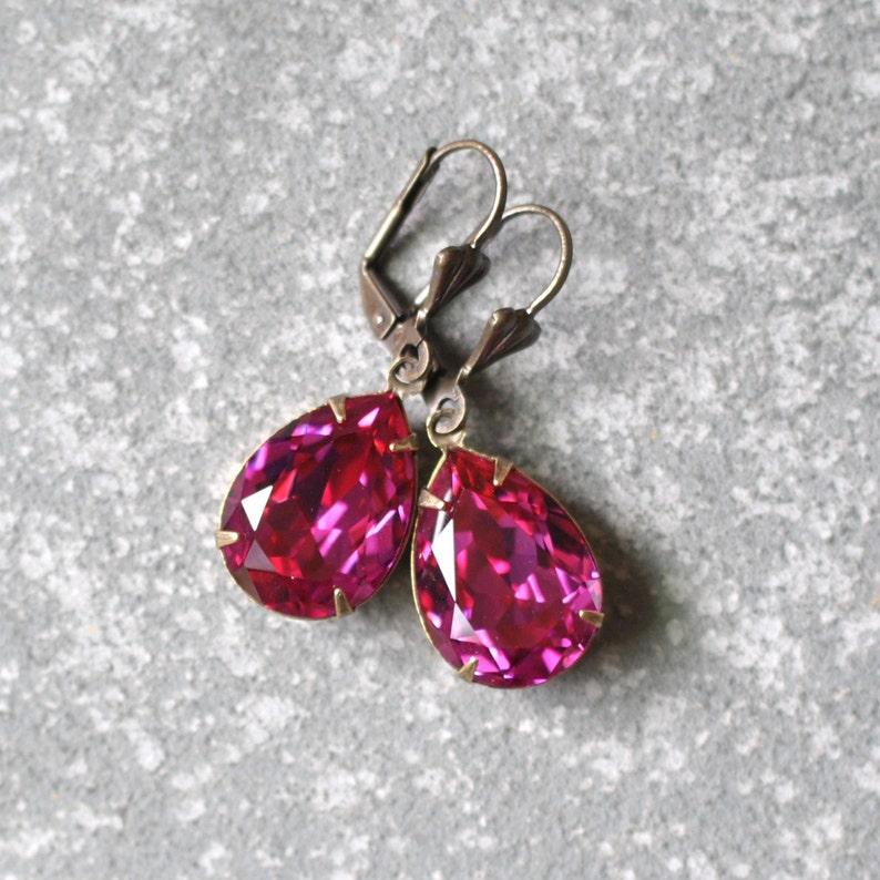 1d6447862 Fuchsia Pink Earrings Swarovski Crystal Magenta Pear Earrings | Etsy