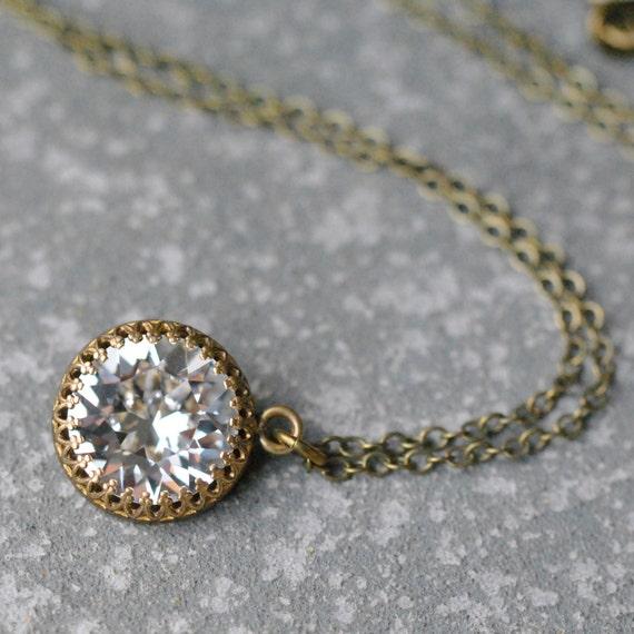 Diamond Pendant Necklace Simple Bridal Necklace Swarovski Etsy