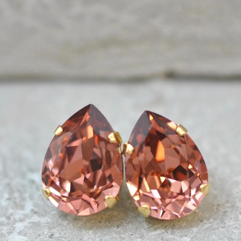 05e080bd6 Blush Rose Earrings Swarovski Crystal Pink Earrings Rhinestone | Etsy