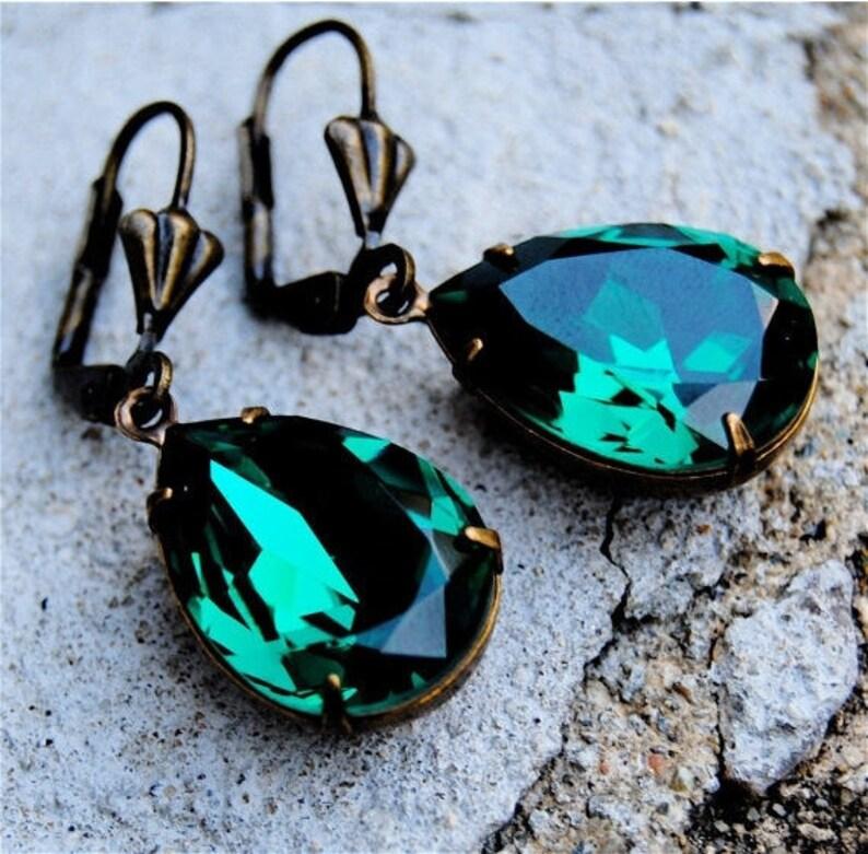 3e58d4fca Emerald Green Earrings Swarovski Crystal Earrings Emerald | Etsy