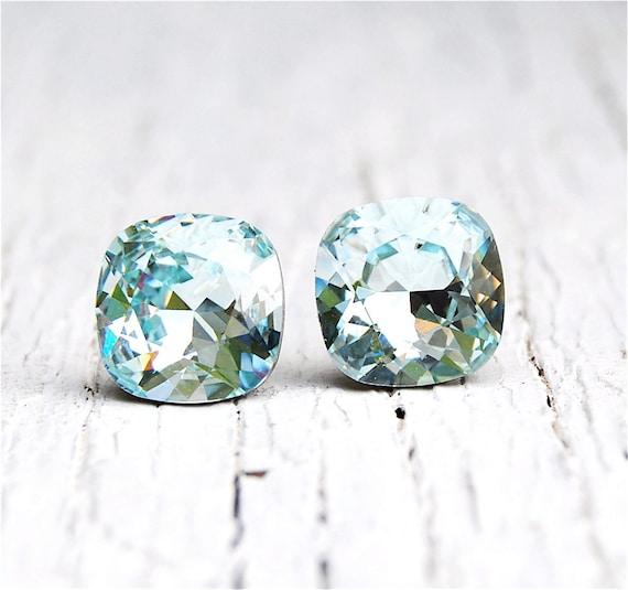 Icy Blue Aquamarine Earrings Super Sparklers Square Swarovski  faf7ddc2ef10