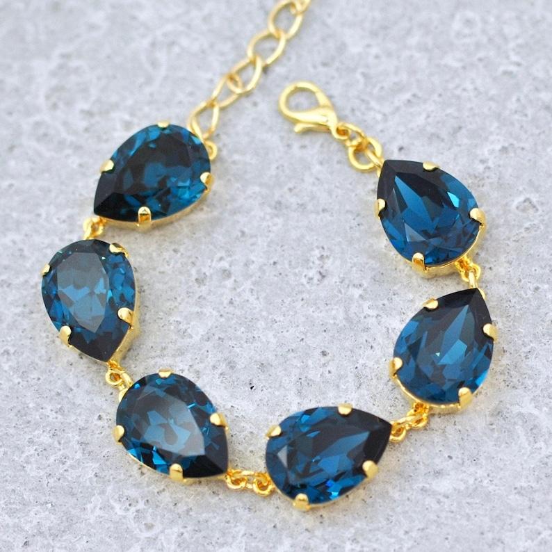 f1b2da14eac Vintage Navy Blue Earrings Swarovski Crystal Earrings Tear
