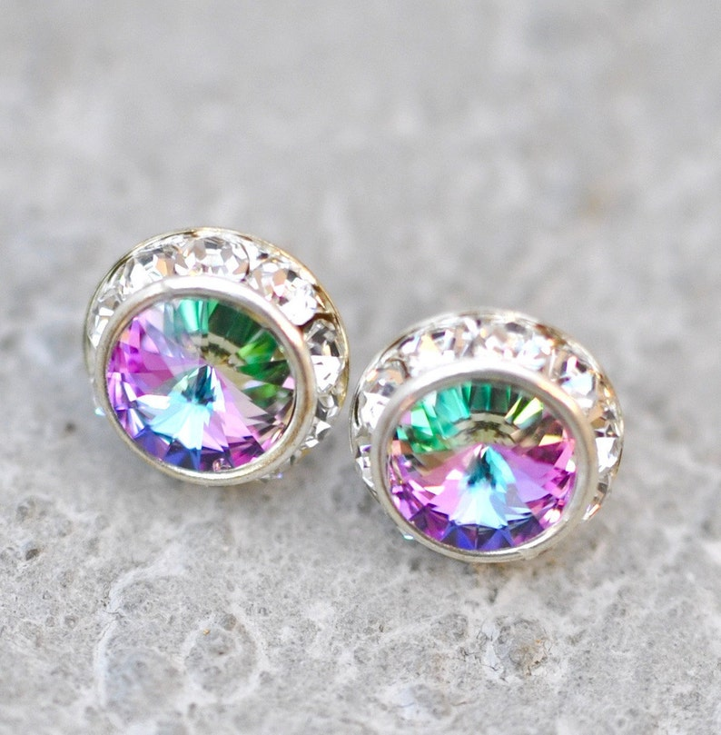 magasin d'usine 7465e 6ee4d Purple Rainbow Earrings Diamond Earrings Swarovski Earrings Small Sugar  Sparklers Swarovski Rhinestone Earrings Mashugana Wedding Jewelry