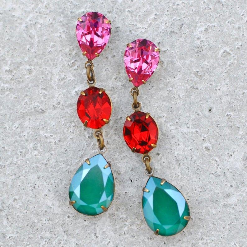 5c6ae5c17 Pink Red Green Rhinestone Dangle Fiesta Earrings Swarovski   Etsy