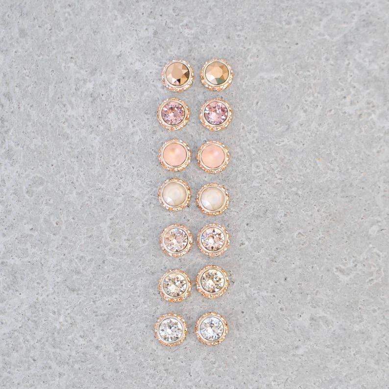f998b9f1b49f Peach Pink Rose Gold Bridesmaids Stud Earrings Bridesmaid