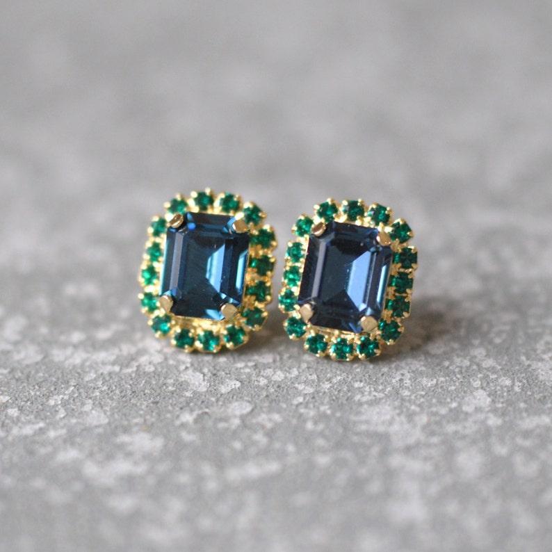 0cf2142ee8a80 Navy Blue Emerald Cut Earrings Swarovski Crystal Studs Rectangle Rhinestone  Wedding Vintage Emearld Green Bridesmaid Earrings Mashugana