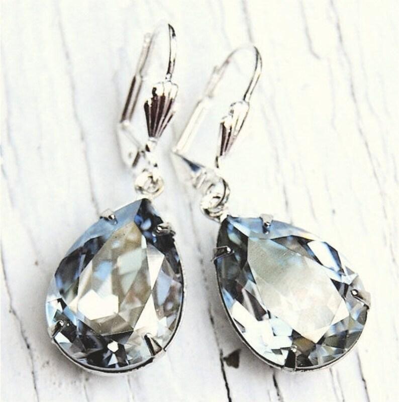 8d219d7aa54 Blue Gray Silver Mist Earrings Pear Swarovski Crystal Earrings