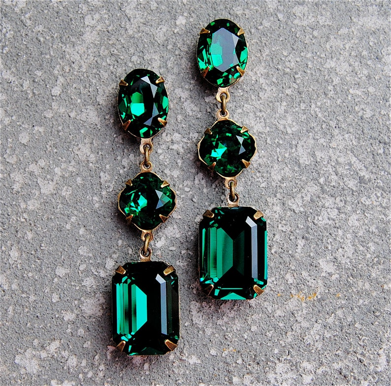 0d79267bd9779 Emerald Green Earrings Swarovski Crystal Emerald Large Rectangle Earrings  Post or Clip on Dangle Rhinestone Earrings Fiesta Mashugana