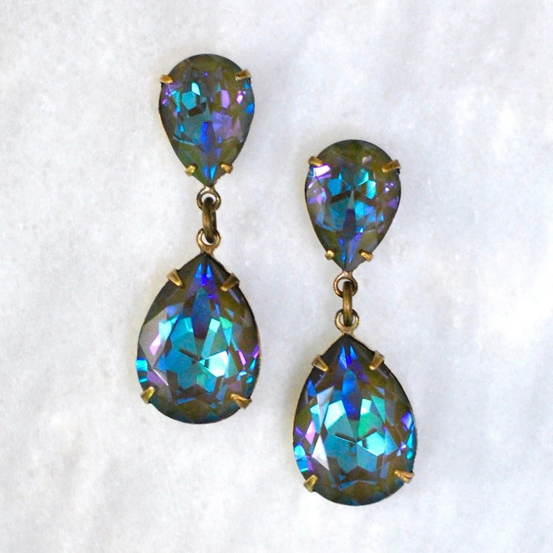 de49383ea67e9 Green Rainbow Earrings Swarovski Army Green Delite Rhinestone Dangle  Earrings Hourglass Dangle Stud Post Earrings Clip on Opal Bridesmaids