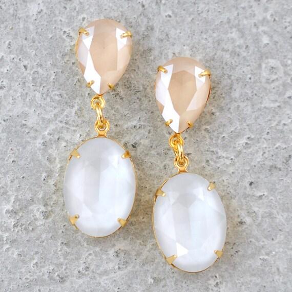 Clip sur Crème Ivoire Perle /& Strass Cristal Stud gold strass Boucles d/'oreilles