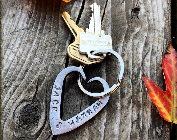 FORGED HEART KEYCHAIN - 6th (Iron) or 11th (Steel) Wedding Anniversary Gift Idea Wife Gifts Girlfriend Couple Hand Made Personalized Option