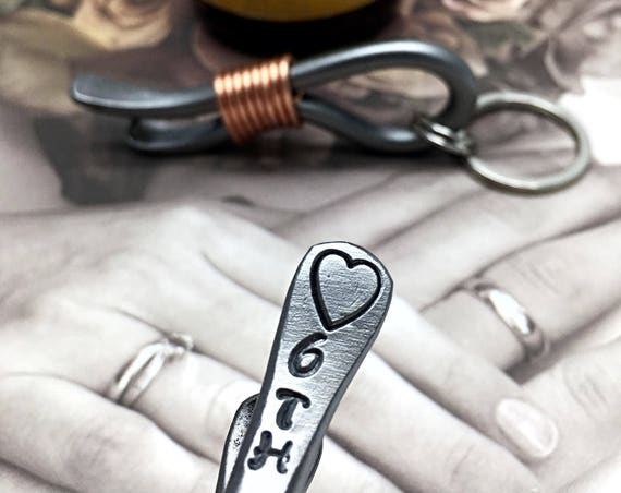 6th Year Wedding Gift - Iron Anniversary - Keychain Bottle Opener - 6 Years & Heart - For Couple - Him - 6 Sixth Wedding Themes Metal Steel