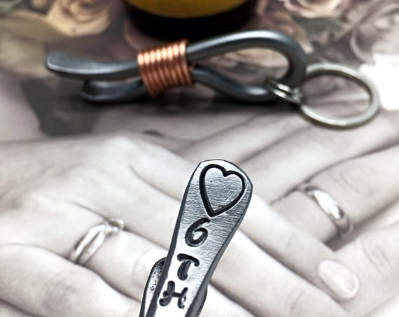 6th Year Wedding Gift - Iron Anniversary - Keychain Bottle Opener - 6 Years & Heart - For Couple - Him - 6 Sixth Wedding Themes Metal Steel