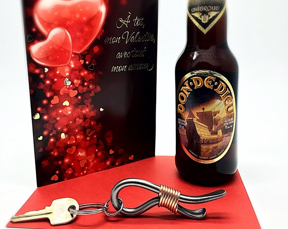 VALENTINE'S KEYCHAIN Bottle Opener Gift for Him Boyfriend Husband Father Son Man Men  Personalized Option Available Forged by Blacksmith Naz