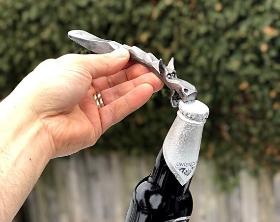 DRAGON'S BREATH Bottle Opener (With Lifted Ears) -  Hand Forged by Blacksmith Naz -  Gift for Him Man Men Boyfriend Father Craft Beer Gifts