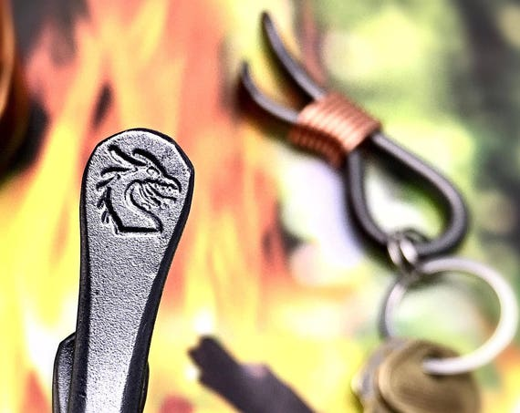 DRAGON HEAD Keychain Bottle Opener -  Personalized Option Available - Original Design Hand Forged and Signed by Naz - Dragons
