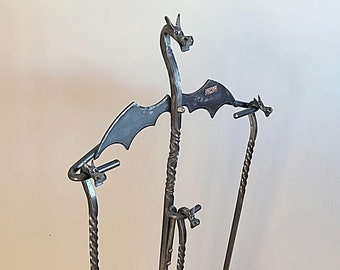 FIREPLACE SET Hand Forged Dragon Family by Blacksmith Naz , Poker, Broom & Shovel 3 Piece Fire Tools with Stand , Heavy Base  Companion Set