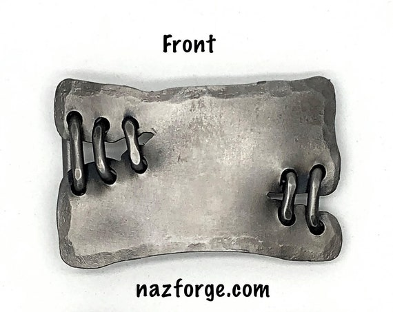 6th YEAR WEDDING ANNIVERSARY Gift Iron Belt Buckle , with Iron Stitches, Forged by Naz - Custom Buckle - Original Design Wearable Art