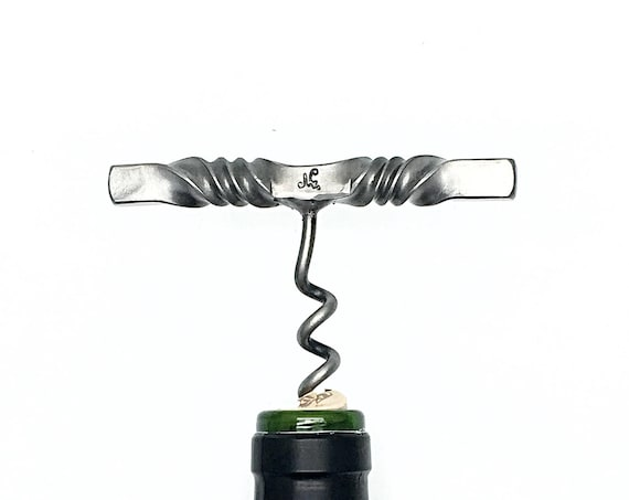 Corkscrew Wine Bottle Opener - Personalized & Right or Left Handed Options Available - Forged by Naz - Housewarming Gift - Hostess Gifts