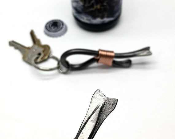 FISHERMAN 'S KEYCHAIN OPENER - Hand Forged and Signed by Blacksmith Naz - Fish Tail - Gifts - Gift for Him - Fishermen - Fishing Accessories