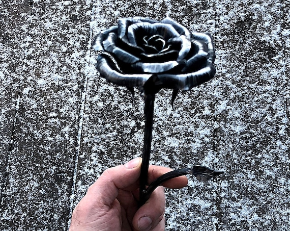 Iron Rose Stamped (I Love You, Happy 6th) Hand Forged by Blacksmith - 6 Years Iron Wedding Anniversary Gift Idea for Husband or Wife
