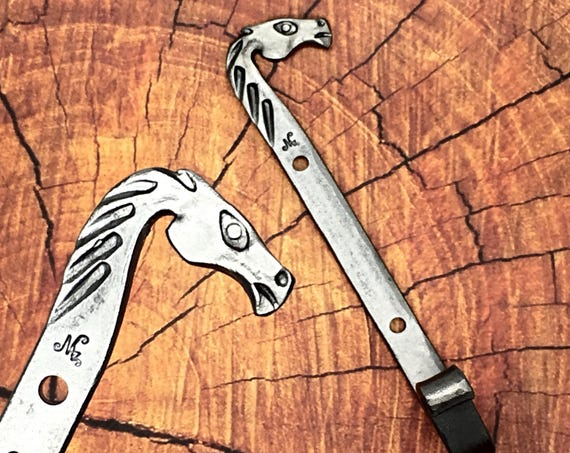 HORSE HEAD HOOK - Personalized Option Available - Custom Gift Idea - Cowboy or Cowgirl Colt Stallion Bronco Mustang  Forged by Blacksmith