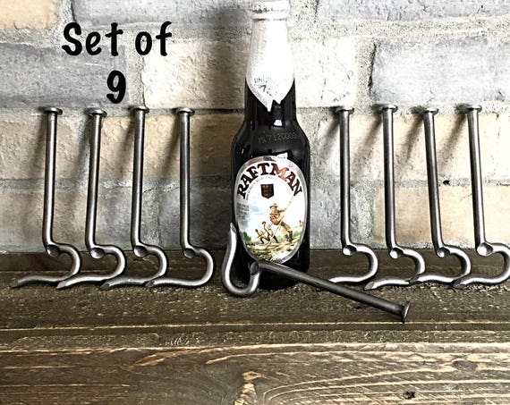 GROOMSMEN GIFT Set of 9 Bottle Openers made from a Large Nail- Personalized Option Available - Forged by Naz - Unique Cool Best Gifts Men