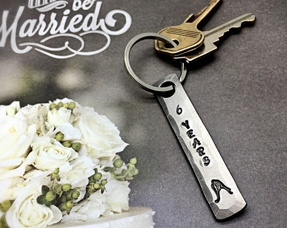 6th Year Iron Wedding Anniversary Keychain Gift Idea for Wife or Husband - 6 Years Bride & Groom Couple - Wedding Themes Sixth - Him or Her