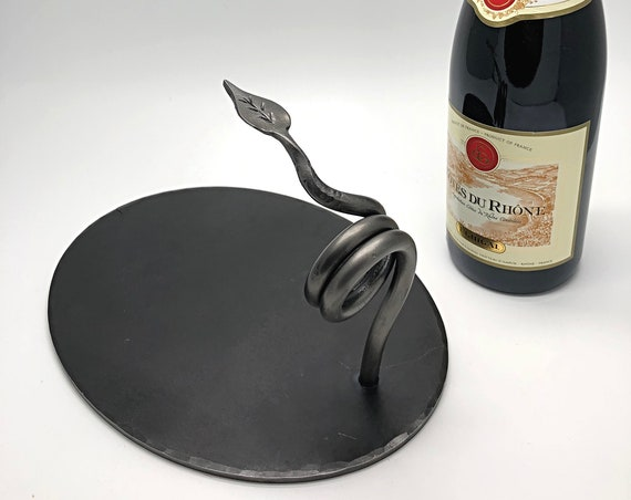 WINE RACK Hand Forged - Wedding Anniversary Gift Idea - Personalized Option Available - Single Bottle Rack Hand Made Iron by Naz Forge