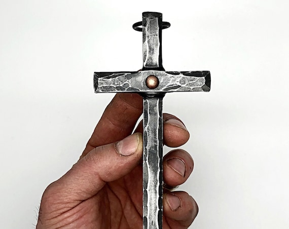 FORGED IRON CROSS  with Hammer Texture - Hand Forged by Blacksmith Naz - Iron Cross with Copper Rivet - Christian Cross