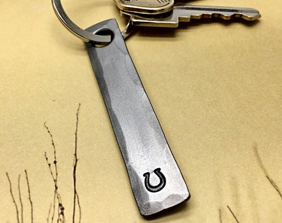 HORSESHOE KEYCHAIN - Personalization Option Available - Horse - Cowboy Cowgirl - Ranch - Unisex Personalized Gift Every Day Carry Hand Made