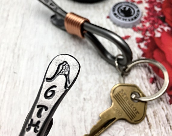 6th Year Wedding Gift - Iron Anniversary - Keychain Bottle Opener - 6 Years Bride & Groom - For Couple - Him - Her - 6 - Sixth Themes Iron