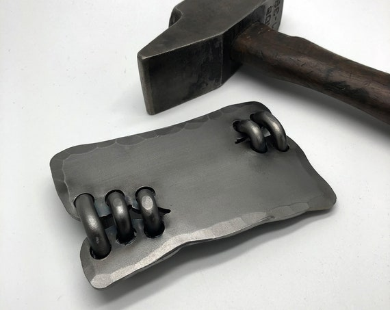 "Large Iron Belt Buckle  , Fits 1 3/4"" Belt - Hand Made by  Naz - Steampunk Distressed Custom Buckle - Original Design Wearable Art"