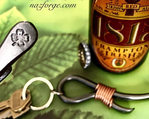 SHAMROCK 4 Leaf Clover  Keychain Bottle Opener -  Personalized Option Available - Design by Naz - St-Patrick's - Ireland Irish Gift for Man
