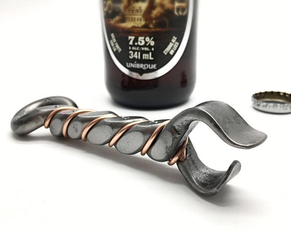 TWISTED BOTTLE OPENER - Personalized Option Available - Hand Forged  by  Naz - Groomsmen Gifts -  for Him - Men Father -  Craft Beer Tool