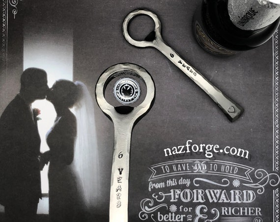 6 Years Iron Wedding Anniversary Gift Bottle Opener for Him, Her or the Couple -6th Wedding Theme Gift Idea Hand Forged by Blacksmith Naz