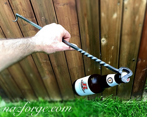 BBQ TOOL Steak Flipper with  Bottle Opener - Hand Forged Grill Tool - Outdoor Grilling Cooking Accessory - Gifts for Men - Man - Naz Forge