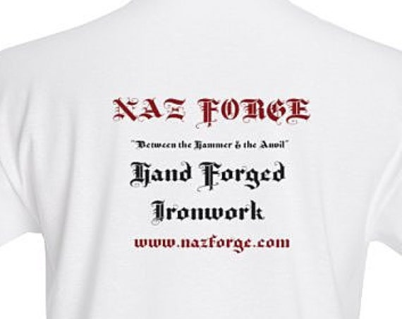 NAZ FORGE T-Shirt (Large or X-Large) - White -Signature Soft men's t-shirt  superior print quality : 155 grams, 100% ringspun cotton.