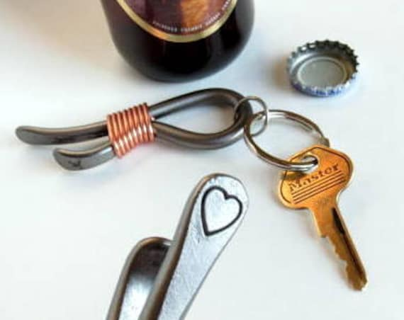 HEART KEYCHAIN Bottle Opener -  Personalization Option Available - Hand Forged and Signed by Blacksmith Naz - 6th Wedding Anniversary Gift
