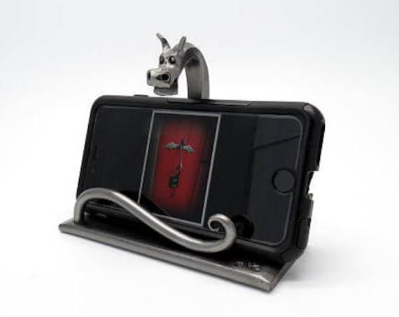 DRAGON CELL PHONE Station - Rack - Display - Metal -  Hand Forged and Signed by Blacksmith Naz - Dragons - Metal Sculpture Dock Station