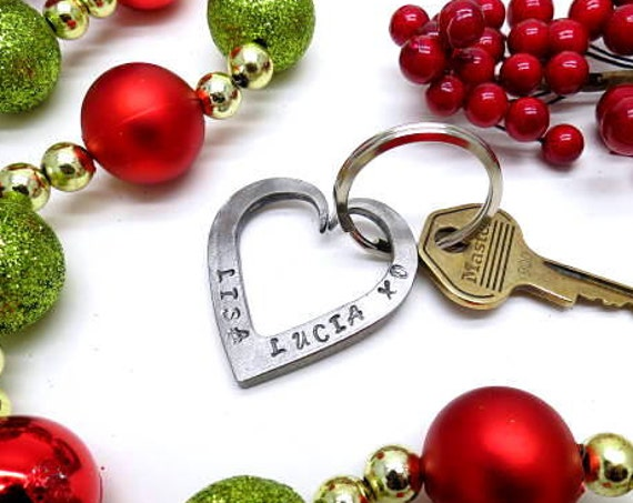 FORGED HEART KEYCHAIN Christmas Stocking Stuffer Gift Idea - Personalized Option Available - Custom Gifts  - x-mas present - by Naz Forge