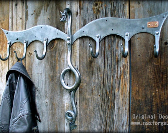 BLACKSMITH FORGED COAT Rack Dragon Sculpture by Naz - Unique Gift Idea - Dragons - Hooks - Hanger - Fantasy - Hand Forged - Metal - Art