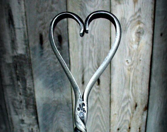 FIREPLACE POKER TOOL with Forged Heart Handle - 6th Wedding Anniversary Gift Idea - Hand Forged and signed by Blacksmith Naz