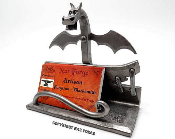 DRAGON BUISNESS Card Holder with Wings - Metal -  Hand Forged and Signed by Blacksmith Naz - Dragons - Metal Sculpture - Desk & Office