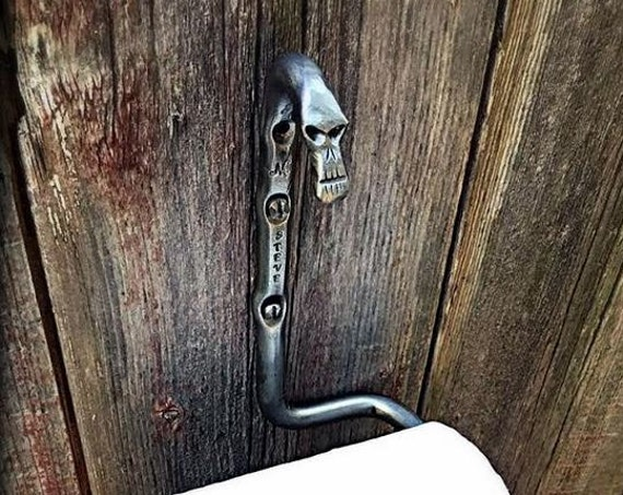 SKULL TOILET PAPER Holder - One of a Kind  Bathroom Accessories - Hand Forged & Signed by Blacksmith Naz - Original Gift - Unique Halloween