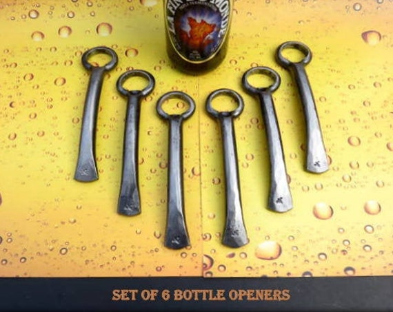 6 GROOMSMEN GIFT SET of Six Bottle Openers - Personalized Option Available - Hand Forged by Naz - Gifts for Groomsmen Ushers  Engagement Men